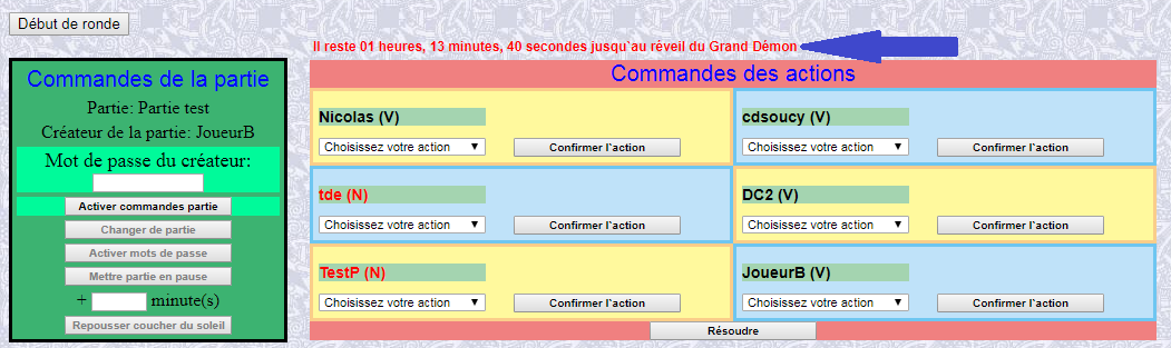 Page des actions